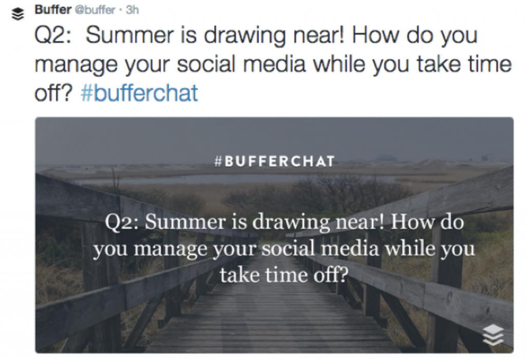 #BufferChat is a twitter chat hosted by Buffer, a social media scheduling tool that more than 2 million people use.